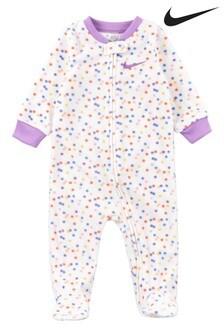 חליפת שינה מפליס לתינוק עם הדפס נקודות של Nike בצבע לבן