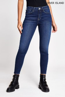 River Island Denim Dark Amelie Mid Rise Hayes Jeans