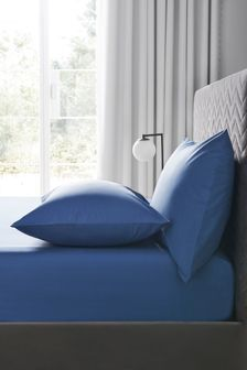 Blue Easy Care Polycotton Fitted Sheet