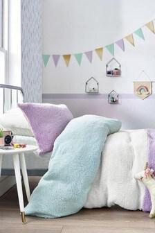 Colourblock Fleece Duvet Cover And Pillowcase Set
