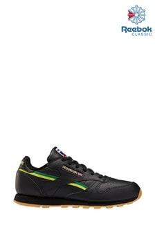 נעלי ספורט לילדים ונוער של Reebok דגם Classic בשחור/צהוב