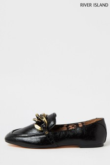 River Island Black 7386 Oversized Chain Loafer Shoes