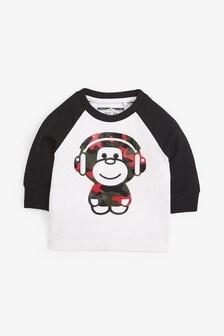 Long Sleeve Gel Print Monkey T-Shirt (3mths-7yrs)