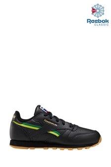 נעלי ספורט לילדים של Reebok דגם Classic בשחור/צהוב