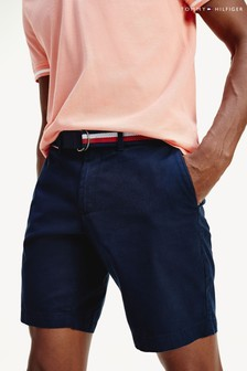 Tommy Hilfiger Blue Brooklyn Light Twill Belted Shorts