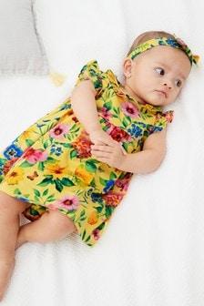 花朵圖案球衣連衣裙、女性內褲和頭飾套裝 (0個月至2歲)