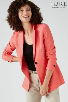 Blazer Pure Collection rose en lin coupe longue
