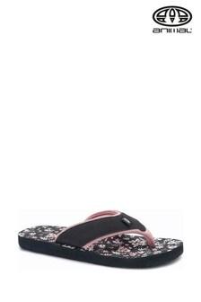 Animal Black Swish Print Flip Flops