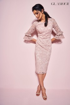 Khost Glamour Pink Blush Lace Ruffle Pencil Dress