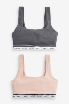 Daisy Non Padded Wire Free Logo Cotton Crop Tops Two Pack