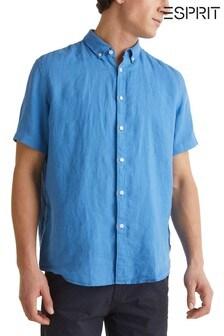 Esprit blauw linnen overhemd met korte mouwen