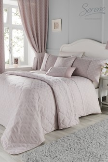 Serene Blush Nouveau Fan Embellished Jacquard Duvet Cover and Pillowcase Set