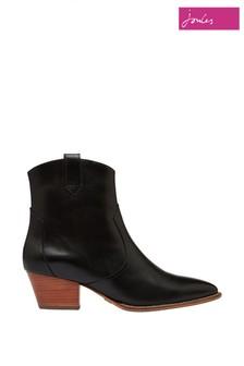 Čierne kožené westernové čižmy Joules Mayfair