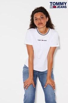 Tommy Jeans Ringer-T-Shirt mit Sommer-Logo, weiß