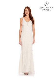 Adrianna Papell White Beaded Plunging V-Neck Gown