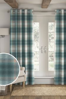Serena Check Eyelet Lined Curtains