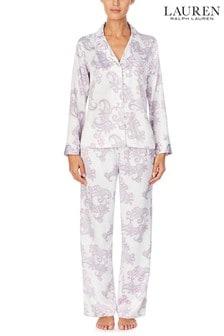 Lauren Ralph Lauren® Purple Satin Long Sleeve Notch Collar Pyjama Set