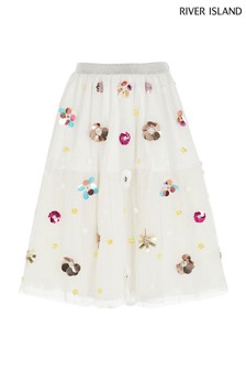 River Island White Embellished Midi Skirt