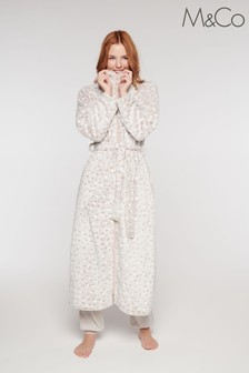 M&Co Natural Polka Dot Dressing Gown