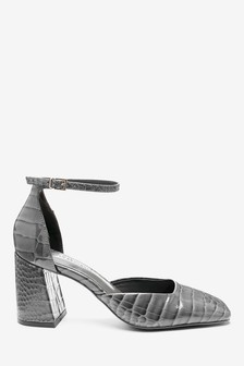 Square Toe Flared Heel Two Part Shoes