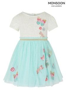Monsoon藍色嬰兒裝蝴蝶Disco連衣裙