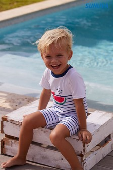 Sunuva Navy Stripe Watermelon Whale Sunsuit