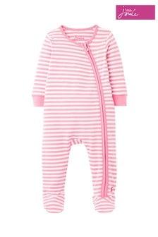 Joules Pink Zippy Stripe Babygrow