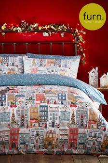Furn Christmas Festive Town Duvet Cover and Pillowcase Set