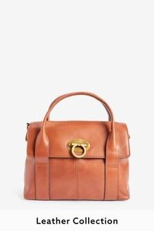 Кожаная сумка-тоут с маленьким замком
