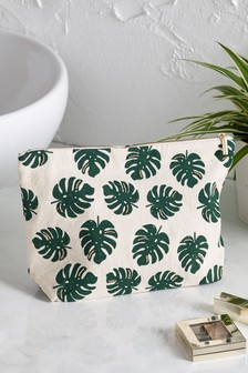 Embellished Palm Print Cosmetics Bag