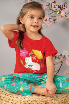 Frugi Organic Red T-Shirt With A Cat And Parasol Appliqué