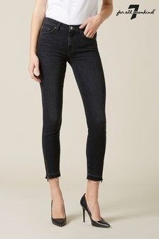 7 For All Mankind Black Skinny Cropped Jeans