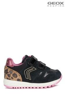 Geox Baby Girl's Alben Black/Fuchsia Velcro Sneakers