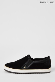 River Island Black Binding Easy Plimsolls