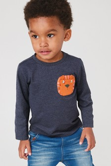 Long Sleeves Lion Pocket T-Shirt (3mths-7yrs)