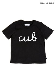T-shirt Tobias & The Bear en coton bio noir motif ourson