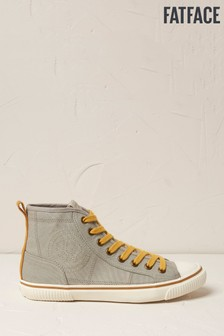 FatFace Grey Organic Hi Top Lace-Up Trainers