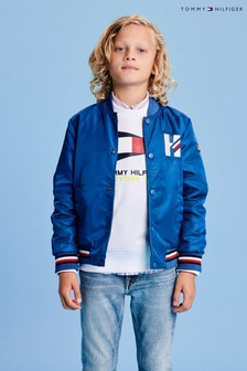 Tommy Hilfiger - Bomber blu double-face con logo