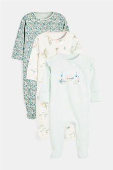 3 Pack Penguin Sleepsuits (0-2yrs)