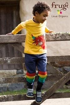 Frugi Organic Cotton Navy Rainbow Knee Patch Joggers