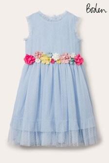 Boden Tüllkleid mit Ansteckblume, Blau