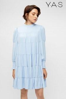 Y.A.S Powder Blue Tiered Smock Mini Dress