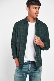 Chemise manches longues à carreaux en coton brossée