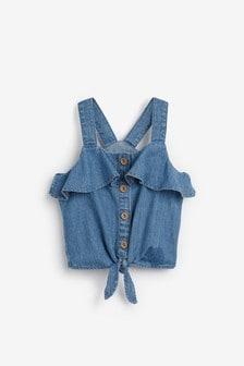 Блузка на пуговицах с завязками спереди (3-16 лет)