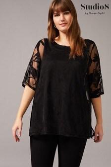 חולצה במראה משופשף של Studio 8 דגם Layla בשחור