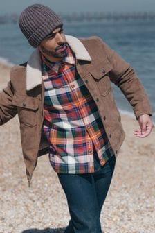 Куртка из искусственной замши с меховым воротником