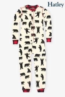 Hatley Bear Kids Union Anzug, Creme/Schwarz