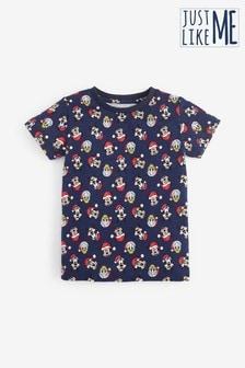 חולצת טי עם הדפס מג'רזי עם שרוולים קצרים Mickey Mouse™ Christmas (3 חודשים עד גיל 8)