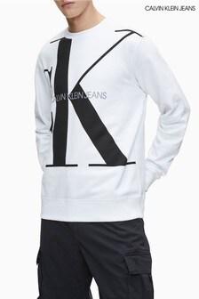 Calvin Klein Jeans White Upscale Monogram Logo Sweatshirt