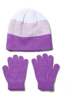 Under Armour Girls Purple Beanie & Gloves Set